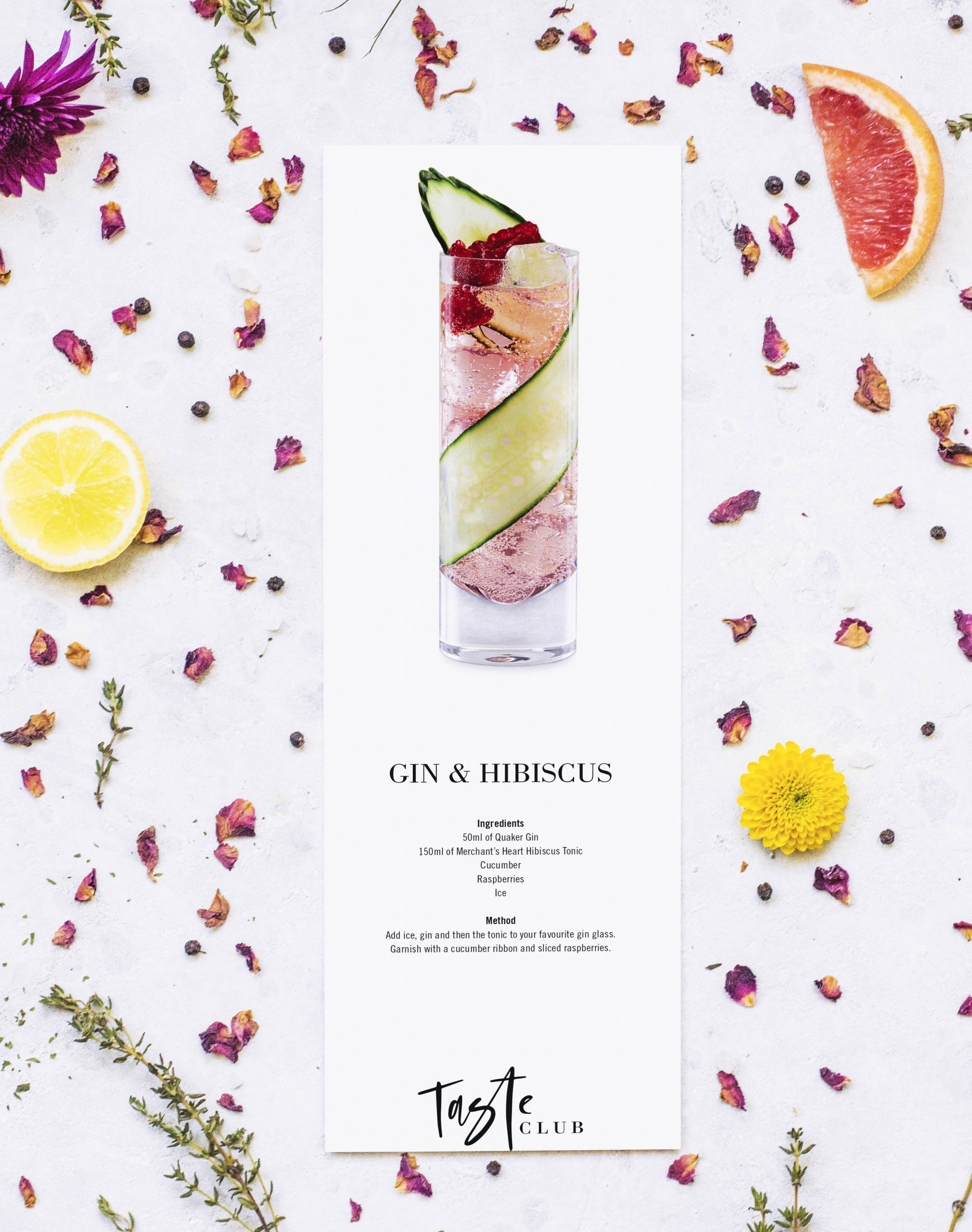 Gin & Hibiscus Cocktail Recipe Card