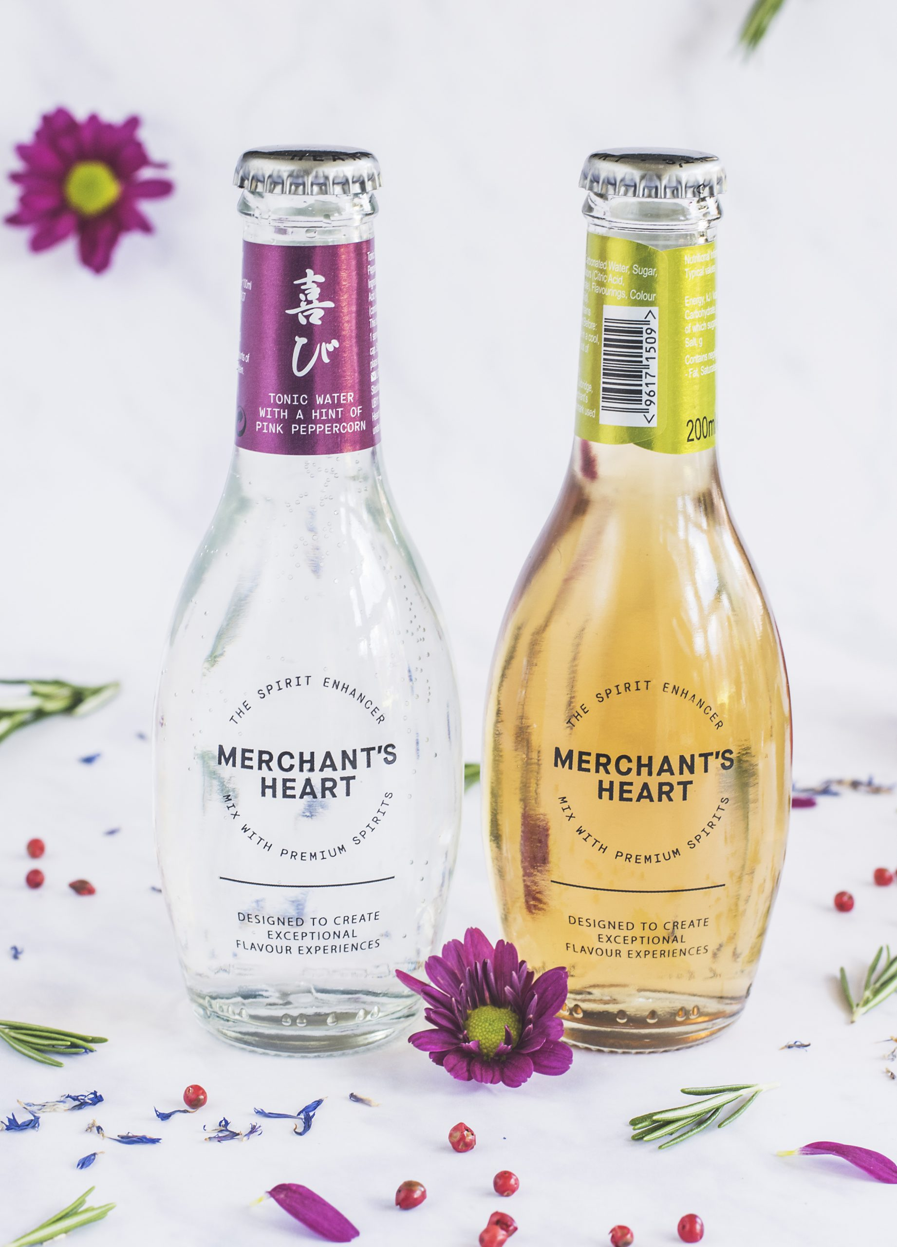 Bottles of Merchant's Heart: Pink Peppercorn Tonic and Ginger Ale